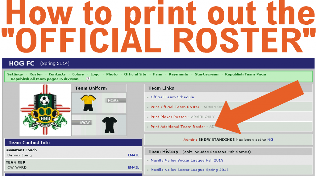 how to print out a official roster for games mesilla valley soccer